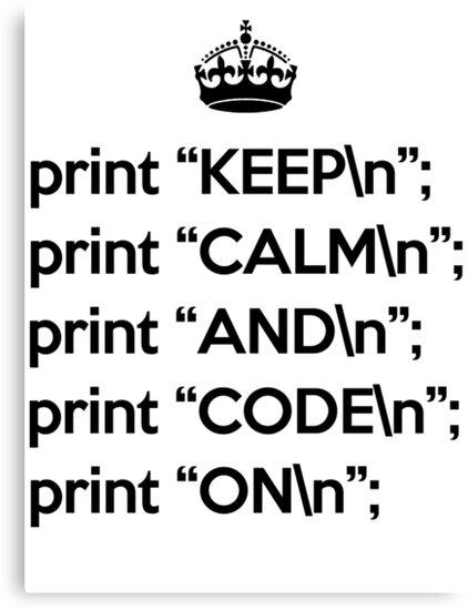 Keep Calm And Code On - Perl - \n back - Black by VladTeppi