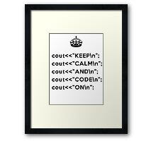 Keep Calm And Carry On - C++ - \n back - Black Framed Print
