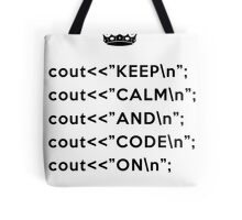 Keep Calm And Carry On - C++ - \n back - Black Tote Bag