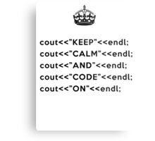 Keep Calm And Carry On - C++ - endl - Black Metal Print