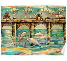Dolphin Pier Poster