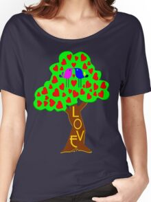 °•Ƹ̵̡Ӝ̵̨̄Ʒ♥Romantic Lovebirds Kissing on a Love-Tree Clothing & Stickers♥Ƹ̵̡Ӝ̵̨̄Ʒ•° Women's Relaxed Fit T-Shirt