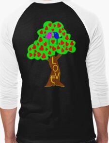 °•Ƹ̵̡Ӝ̵̨̄Ʒ♥Sweet Lovebirds Kissing on a Romantic Love Tree Clothing & Stickers♥Ƹ̵̡Ӝ̵̨̄Ʒ•° Men's Baseball ¾ T-Shirt
