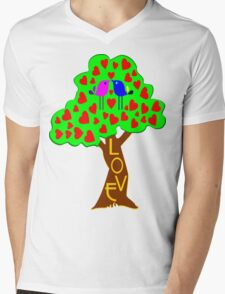 °•Ƹ̵̡Ӝ̵̨̄Ʒ♥Sweet Lovebirds Kissing on a Romantic Love Tree Clothing & Stickers♥Ƹ̵̡Ӝ̵̨̄Ʒ•° Mens V-Neck T-Shirt