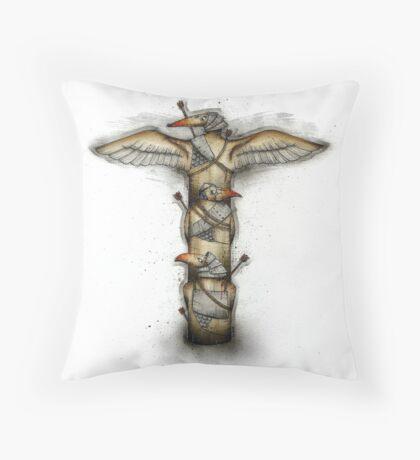 Three Bird Totem Throw Pillow