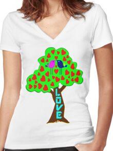°•Ƹ̵̡Ӝ̵̨̄Ʒ♥Sweet Lovebirds Kissing on a Romantic Love Tree Clothing & Stickers♥Ƹ̵̡Ӝ̵̨̄Ʒ•° Women's Fitted V-Neck T-Shirt