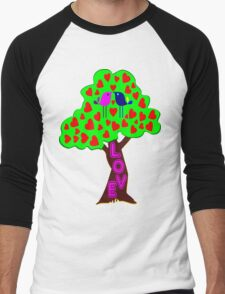 °•Ƹ̵̡Ӝ̵̨̄Ʒ♥Sweet Lovebirds Kissing on a Romantic Love Tree Clothing & Stickers♥Ƹ̵̡Ӝ̵̨̄Ʒ•° Men's Baseball ¾ T-Shirt