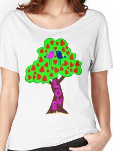 °•Ƹ̵̡Ӝ̵̨̄Ʒ♥Sweet Lovebirds Kissing on a Romantic Love Tree Clothing & Stickers♥Ƹ̵̡Ӝ̵̨̄Ʒ•° Women's Relaxed Fit T-Shirt