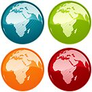 Vibrant Glassy Globe Set - Africa and Europe by totorat