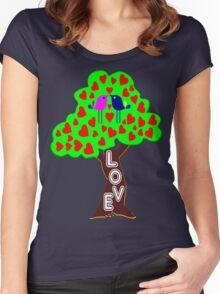 °•Ƹ̵̡Ӝ̵̨̄Ʒ♥Romantic Lovebirds Kissing on a Love-Tree Clothing & Stickers♥Ƹ̵̡Ӝ̵̨̄Ʒ•° Women's Fitted Scoop T-Shirt