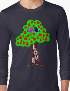 °•Ƹ̵̡Ӝ̵̨̄Ʒ♥Romantic Lovebirds Kissing on a Love-Tree Clothing & Stickers♥Ƹ̵̡Ӝ̵̨̄Ʒ•° Long Sleeve T-Shirt