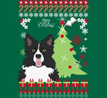 Border Collie Christmas Sweater Womens Fitted T-Shirt