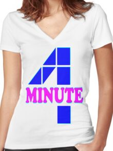 ㋡♥♫Hot Fabulous K-Pop Girl Group-4Minute Clothing & Stickers♪♥㋡ Women's Fitted V-Neck T-Shirt