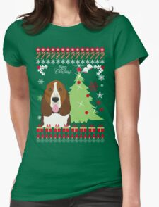 Basset Hound Christmas Sweater Womens Fitted T-Shirt