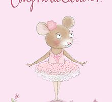 """CONGRATULATIONS"" PRETTY BALLERINA MOUSE by Jane Newland"