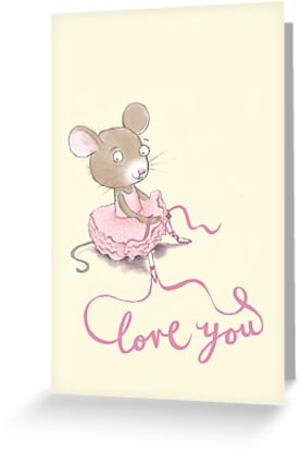 """LOVE YOU"" PRETTY BALLERINA MOUSE by Jane Newland"