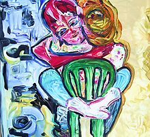HUG - acrylic, tempera, paper 22 x 28'' by irishrainbeau