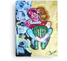 HUG - acrylic, tempera, paper 22 x 28'' Canvas Print