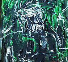 man and his spirits - acrylic, tempera, paper 22 x 28'' by irishrainbeau
