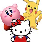 Kirby, Hello kitty, and Pikachu! by linwatchorn