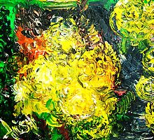 CHRYSANTHEMUMS ON SAPPHIRE STREET  - OIL, CANVAS 18 X 24'' by irishrainbeau
