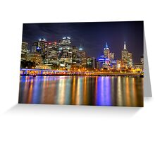 Melbourne Skyline Reflections Greeting Card