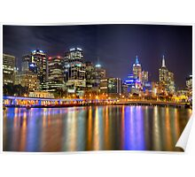 Melbourne Skyline Reflections Poster