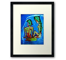 SISTERS - acrylic, tempera, paper 22 x 28'' Framed Print
