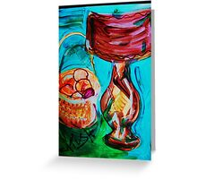 LAMP AND ORANGES - 22 x 28'' paper, acrylic, tempera Greeting Card