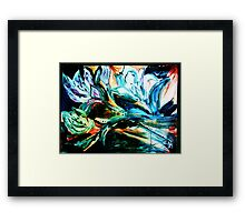 NIGHT LILIES - acrylic, tempera, paper 22 x 28'' Framed Print