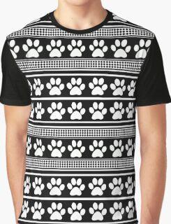 Black white animal paw prints pattern Graphic T-Shirt