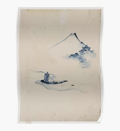 A person in a small boat on a river with Mount Fuji in the background 001 Poster