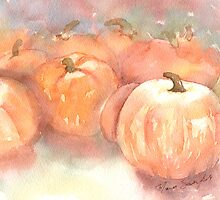 Pumpkin - Watercolor Painting - Autumn Pumpkin Patch - Fall Season by ShinyDesigns