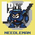 Needle Man with Blue Text by Funkymunkey