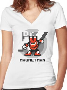 Magnet Man with Black Text Women's Fitted V-Neck T-Shirt