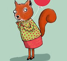 HAPPY BIRTHDAY SQUIRREL, BLUE by Jane Newland