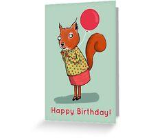 HAPPY BIRTHDAY SQUIRREL, BLUE Greeting Card