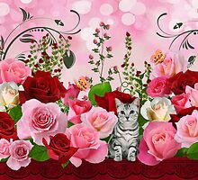 Cat in a Rose Garden by Doreen Erhardt