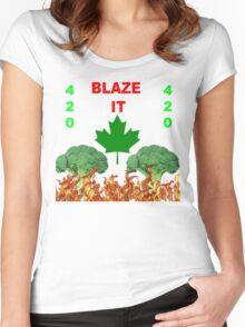 420 BLAZE IT-CANADIAN VEGAN EDITION! Women's Fitted Scoop T-Shirt
