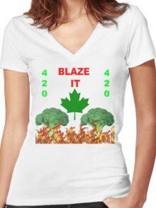 420 BLAZE IT-CANADIAN VEGAN EDITION! Women's Fitted V-Neck T-Shirt