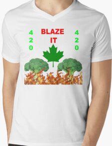 420 BLAZE IT-CANADIAN VEGAN EDITION! Mens V-Neck T-Shirt