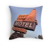 Cozy Cone Motel Sign Throw Pillow
