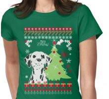 Dalmation Ugly Christmas Sweater Womens Fitted T-Shirt
