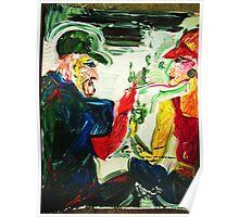 MINT JULEP TALK - acrylic, tempera, paper 18 x 24''  Poster