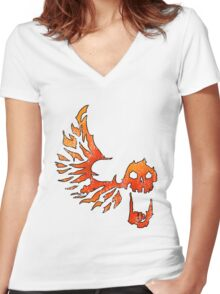Bandit Flame Wing Skull Women's Fitted V-Neck T-Shirt