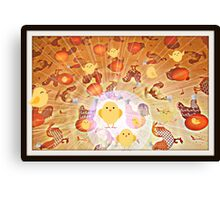 the chickens and the eggs Canvas Print