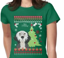 English Setter Ugly Christmas Sweater Womens Fitted T-Shirt