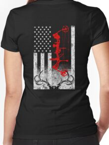 Bow Hunting USA Flag Women's Fitted V-Neck T-Shirt