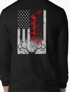 Bow Hunting USA Flag Long Sleeve T-Shirt