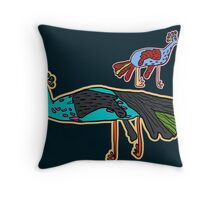 decorative peacock like a child's drawing Throw Pillow